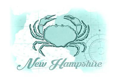 New Hampshire - Crab - Teal - Coastal Icon-Lantern Press-Framed Art Print