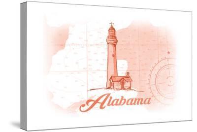 Alabama - Lighthouse - Coral - Coastal Icon-Lantern Press-Stretched Canvas Print