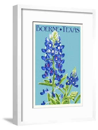 Boerne, Texas - Bluebonnet - Letterpress-Lantern Press-Framed Art Print