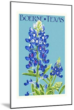 Boerne, Texas - Bluebonnet - Letterpress-Lantern Press-Mounted Art Print