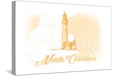 North Carolina - Lighthouse - Yellow - Coastal Icon-Lantern Press-Stretched Canvas Print