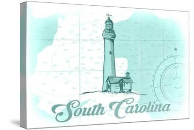 South Carolina - Lighthouse - Teal - Coastal Icon-Lantern Press-Stretched Canvas Print