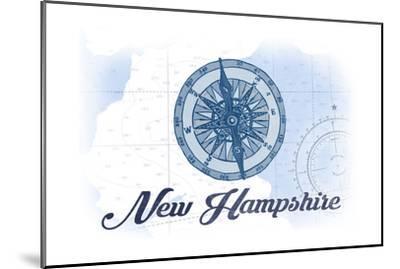 New Hampshire - Compass - Blue - Coastal Icon-Lantern Press-Mounted Art Print