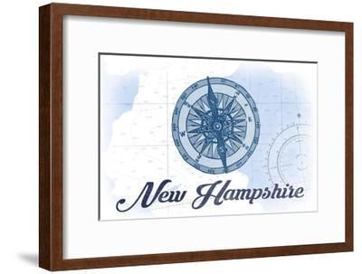 New Hampshire - Compass - Blue - Coastal Icon-Lantern Press-Framed Art Print