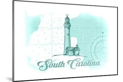 South Carolina - Lighthouse - Teal - Coastal Icon-Lantern Press-Mounted Art Print