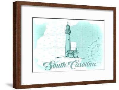 South Carolina - Lighthouse - Teal - Coastal Icon-Lantern Press-Framed Art Print