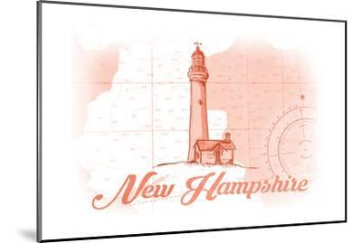 New Hampshire - Lighthouse - Coral - Coastal Icon-Lantern Press-Mounted Art Print