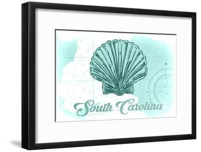 South Carolina - Scallop Shell - Teal - Coastal Icon-Lantern Press-Framed Art Print