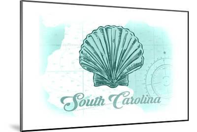 South Carolina - Scallop Shell - Teal - Coastal Icon-Lantern Press-Mounted Art Print