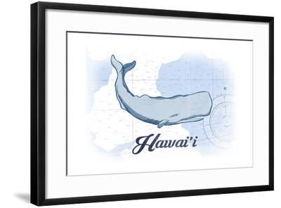 Hawaii - Whale - Blue - Coastal Icon-Lantern Press-Framed Art Print