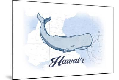 Hawaii - Whale - Blue - Coastal Icon-Lantern Press-Mounted Art Print