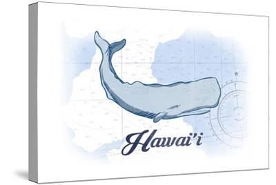 Hawaii - Whale - Blue - Coastal Icon-Lantern Press-Stretched Canvas Print