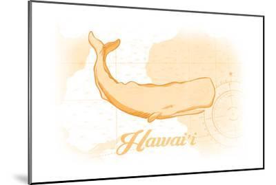 Hawaii - Whale - Yellow - Coastal Icon-Lantern Press-Mounted Art Print