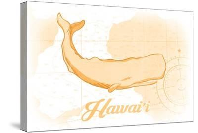 Hawaii - Whale - Yellow - Coastal Icon-Lantern Press-Stretched Canvas Print