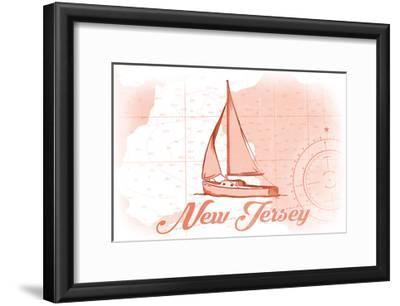 New Jersey - Sailboat - Coral - Coastal Icon-Lantern Press-Framed Art Print
