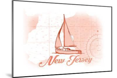 New Jersey - Sailboat - Coral - Coastal Icon-Lantern Press-Mounted Art Print