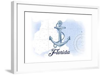 Florida - Anchor - Blue - Coastal Icon-Lantern Press-Framed Art Print