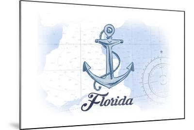 Florida - Anchor - Blue - Coastal Icon-Lantern Press-Mounted Art Print