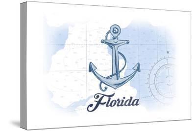 Florida - Anchor - Blue - Coastal Icon-Lantern Press-Stretched Canvas Print