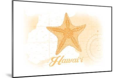 Hawaii - Starfish - Yellow - Coastal Icon-Lantern Press-Mounted Art Print