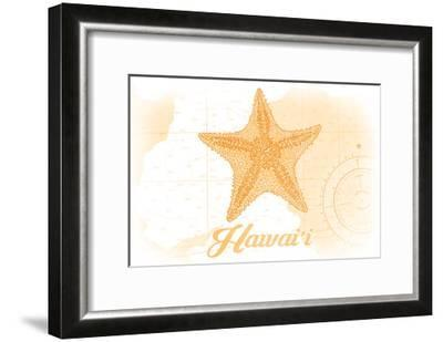Hawaii - Starfish - Yellow - Coastal Icon-Lantern Press-Framed Art Print