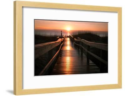 Beach Boardwalk Sunrise-Lantern Press-Framed Art Print