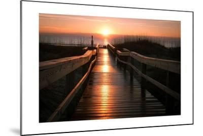 Beach Boardwalk Sunrise-Lantern Press-Mounted Art Print