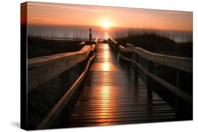 Beach Boardwalk Sunrise-Lantern Press-Stretched Canvas Print