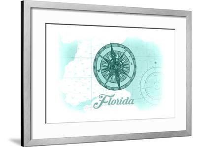 Florida - Compass - Teal - Coastal Icon-Lantern Press-Framed Art Print