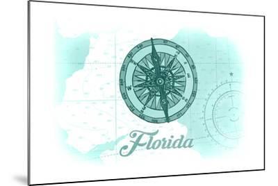 Florida - Compass - Teal - Coastal Icon-Lantern Press-Mounted Art Print