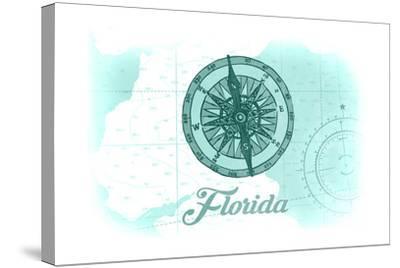 Florida - Compass - Teal - Coastal Icon-Lantern Press-Stretched Canvas Print