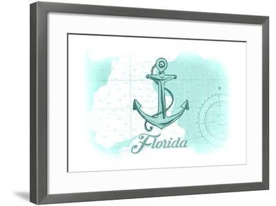Florida - Anchor - Teal - Coastal Icon-Lantern Press-Framed Art Print