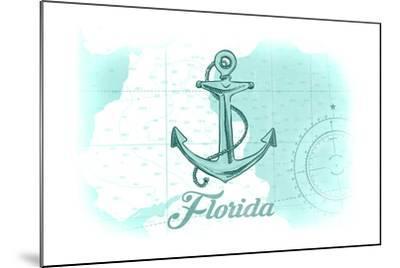 Florida - Anchor - Teal - Coastal Icon-Lantern Press-Mounted Art Print