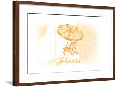 Florida - Beach Chair and Umbrellas - Yellow - Coastal Icon-Lantern Press-Framed Art Print