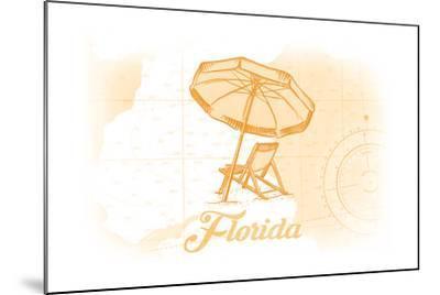 Florida - Beach Chair and Umbrellas - Yellow - Coastal Icon-Lantern Press-Mounted Art Print