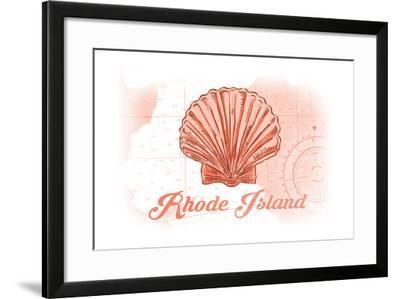 Rhode Island - Scallop Shell - Coral - Coastal Icon-Lantern Press-Framed Art Print