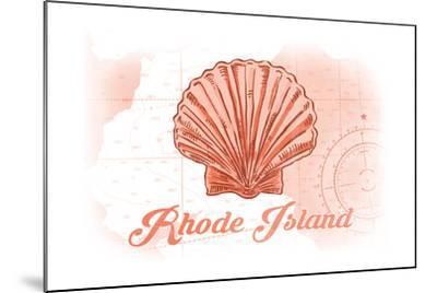Rhode Island - Scallop Shell - Coral - Coastal Icon-Lantern Press-Mounted Art Print