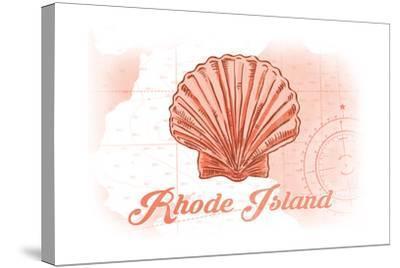 Rhode Island - Scallop Shell - Coral - Coastal Icon-Lantern Press-Stretched Canvas Print