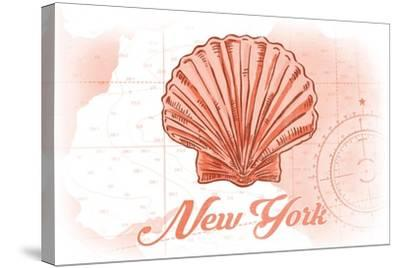 New York - Scallop Shell - Coral - Coastal Icon-Lantern Press-Stretched Canvas Print
