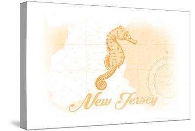 New Jersey - Seahorse - Yellow - Coastal Icon-Lantern Press-Stretched Canvas Print