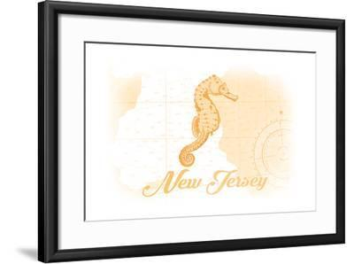 New Jersey - Seahorse - Yellow - Coastal Icon-Lantern Press-Framed Art Print