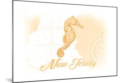 New Jersey - Seahorse - Yellow - Coastal Icon-Lantern Press-Mounted Art Print