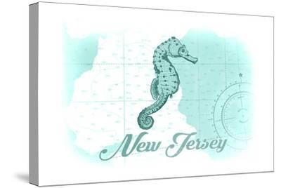 New Jersey - Seahorse - Teal - Coastal Icon-Lantern Press-Stretched Canvas Print