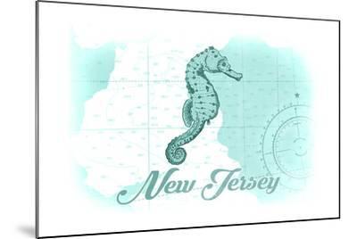 New Jersey - Seahorse - Teal - Coastal Icon-Lantern Press-Mounted Art Print