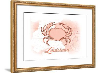 Louisiana - Crab - Coral - Coastal Icon-Lantern Press-Framed Art Print