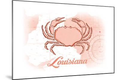 Louisiana - Crab - Coral - Coastal Icon-Lantern Press-Mounted Art Print