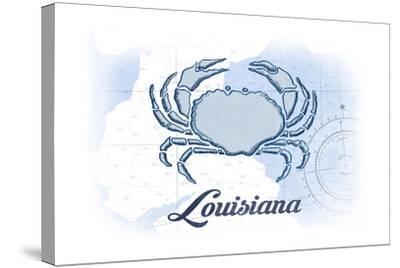 Louisiana - Crab - Blue - Coastal Icon-Lantern Press-Stretched Canvas Print