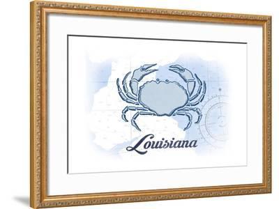 Louisiana - Crab - Blue - Coastal Icon-Lantern Press-Framed Art Print