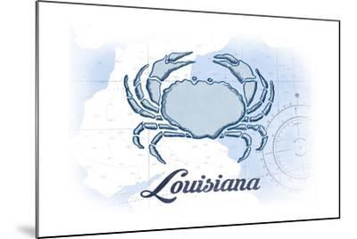 Louisiana - Crab - Blue - Coastal Icon-Lantern Press-Mounted Art Print