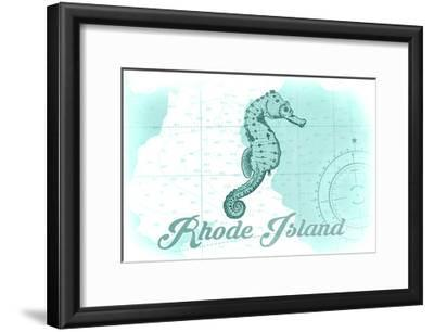 Rhode Island - Seahorse - Teal - Coastal Icon-Lantern Press-Framed Art Print